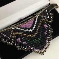 Vintage Necklace Aztec Egyptian Revival Style Handmade Beaded Statement Choker