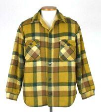 Vtg 50s Lee Wald Green Brown Plaid Flannel Field Jacket Sherpa Lined Large Short