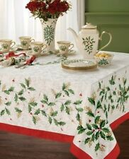 "LENOX Holly & Berries Holiday 60"" by 104"" Oblong Table Cloth Seats 8-10 NEW!!!"