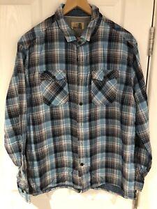 Men's M&S North Coast Light Blue Checked Shirt - Size XL/Long Sleeve/Heavyweight