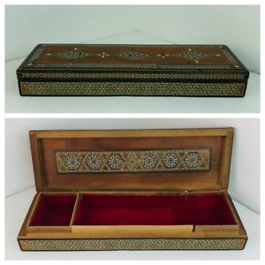 Vintage Ornate Wooden Box Hinged Mother of Pearl Marquetry Mosaic Pattern lined