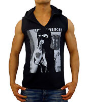 NEW MENS GANGSTER HOODED SLEEVELESS T SHIRT SINGLET TANK TOP HOOD CASUAL MUSCLE