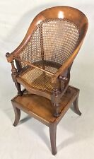 Antique Canework Mahogany Regency Childs Chair And Table Two In One High Chair