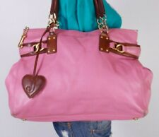 JUICY COUTURE Lrg Pink Brown Leather Tote Shoulder Hobo Tote Satchel Purse Bag