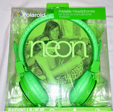 NEW POLAROID FOLDABLE HEADPHONES PHP8450 NEON GREEN MICROPHONE EAR TALK CELL NIB