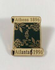 Atlanta Olympics 1996 Scroll Green And Gold Lapel Pin