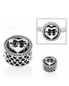 Genuine Pandora ALE 925 Sterling Silver Mickey Minnie Love Charm 791957CZ