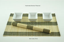 6 Bamboo Placemats Handmade Table Mats, Black-Cream (Light Brown), P012