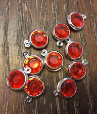 Vintage Silver Fruit Punch Lucite Round Faceted Bezel Charm Drops Finding Lot