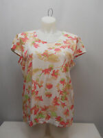ADRIAN DELAFIELD Women's Knit Top Scoop Neck Cap-Sleeve Coral Floral SIZE XL