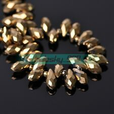 Wholesale 6X12mm Faceted Teardrop Glass Crystal Loose Spacer Beads Jewelry DIY