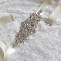 Handmade Crystals Diamond Rhinestone Bride Wedding Sash Belt LJ
