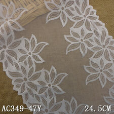 """1 Yard Pretty Delicate Floral Embroidered Tulle White Lace Trim  9 5/8"""" Wide"""