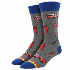 Socksmith Men's Crew Socks Fire Fighter Fireman Hero Gray Novelty Footwear