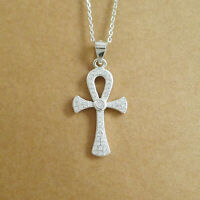 Solid 925 Sterling Silver Ankh Cross Key of Life CZ Pendant Necklace 2 Chains