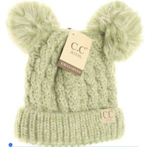 CC Kids Children's Beanie Double Pom Pom Ear Cable Knit Cuffed Sage Green