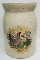 Vintage Crock Jug Rooster Hen Barn Farm Scene Hand Painted Pottery Pot H Arndt