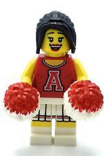LEGO SERIES CHEERLEADER GIRL MINIFIGURE POM POMS WOO GIRL LADY FEMALE FIG