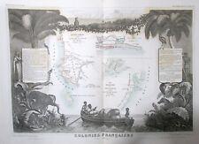CARTE COLONIES AFRIQUE MADAGASCAR SÉNÉGAL par LEVASSEUR en 1852