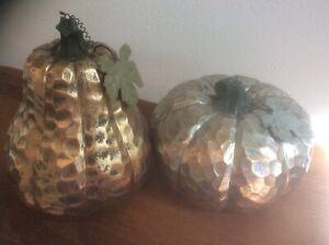 LOT OF 2 Pumpkins Hammered Metal Look Resin Rustic Fall Autumn Decor Metal Leaf