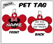 MINNIE MOUSE PET ID TAG Personalized Dog Bone Shape Your Info Custom Both Sides