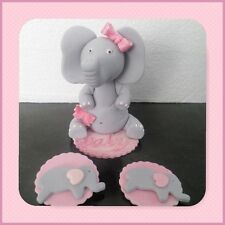 Baby Elephant with bow edible sugar cake/12 cupcake topper