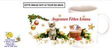 mug tasse ceramique noel petit chat chaton avec prénom texte au choix réf 391