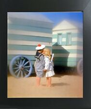 Cute Boy & Girl Kissing Couple Inspirational Wall Decor Art Print Framed Picture
