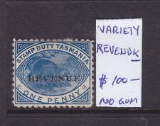 "Tasmania: 1d Dark Blue Variety Ov/Pr Revenu""K"" 1900 No Gum"