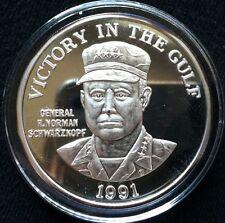 1991 VICTORY IN THE GOLF .999 SILVER ROUND 2 OZ. NORMAN SCHWARZKOPF