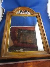 ancien miroir glace cadre bois doré 19e fronton verre opaline peinte