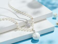 Mother of Pearl AAA Cubic Zirconia Double Necklace Crystals from Swarovski