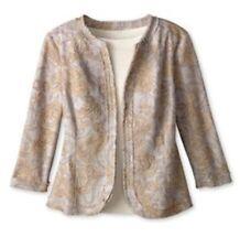 NEW $130 Coldwater Creek 12 Paisley Embellished Jacket Blazer Linen Blend