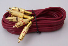 3 RCA Plug to 3 RCA Plug Audio Video Lead 1.5m Gold plated connectors H.Q.Cable