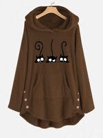 Hiver Femme Sweat-shirt Chaud Peluche Haut à capuche Imprimé Manche Longue Plus