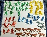 Lot 50 Plus Plastic Cowboys Indians Horses Riders Vintage Old West History