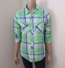 Abercrombie Womens Plaid Shirt Size Small Top Blouse Green Colorful Pink Logo