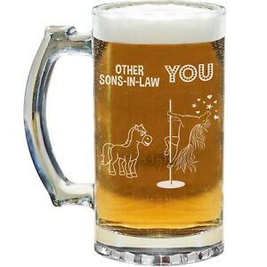 Son in law Beer Mug Glass Stein Cup Funny Gifts For Best Birthday Unicorn N-87H