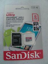 SANDISK Ultra 8GB MICRO SD scheda SDHC UHS-1 CLASSE 10 con adattatore fotocamera telefono