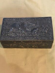 VINTAGE OLD CHINESE  EXPORT STERLING SILVER REPOUSSE  DRAGON JEWELRY BOX 19th