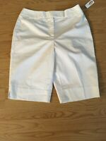 NWT Talbots Womens Size 8 White Cotton Stretch Long Bermuda Walking Shorts,$48