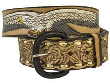 """Western Express Men's Eagle & USA (flag) Tooled Belt Size 34   Xm-230  1.5"""" WIDE"""