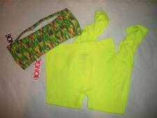 1121  Bongo Neon Green Legging AND Print Bandeau Top M  Yoga Athletic Wear