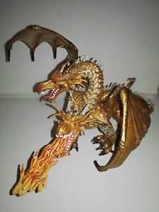 Two Headed Dragon (Gold) Fantasy figure Papo 2005 PVC/Rubber/Medieval