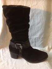 Caprice Black Mid Calf Suede Boots Size 6