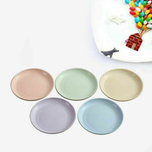 5Pcs Wheat Straw Plates Eco-Friendly Serving  Dishes Dinnerware Various Colors