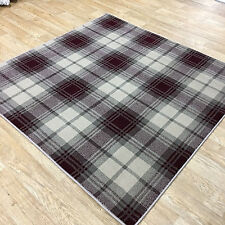 Tartan Beige & Red Rugs - Modern Tartan Design In - 2 SIZES - Cheap Prices