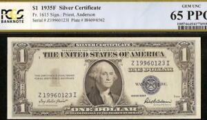 GEM 1935F $1 DOLLAR 1996 0123 SILVER CERTIFICATE NOTE PAPER MONEY PCGS 65 PPQ