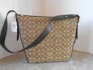 New COACH 25698 Signature Duflette Shoulder Bag/Crossbody $295 LIGHT KHAKI/BROWN
