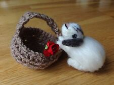 Handmade unique Needle Felted Little Rabbit in the basket with rose. Easter-OOAK